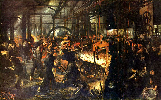 steel mill adolf menzel industrial revolution Supply and Demand of Gold